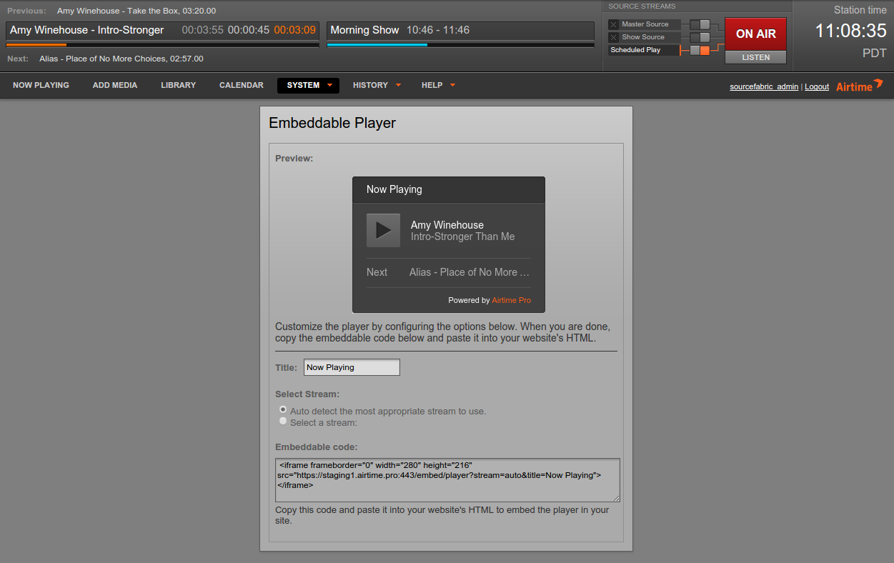 The customization screen for the new player widget