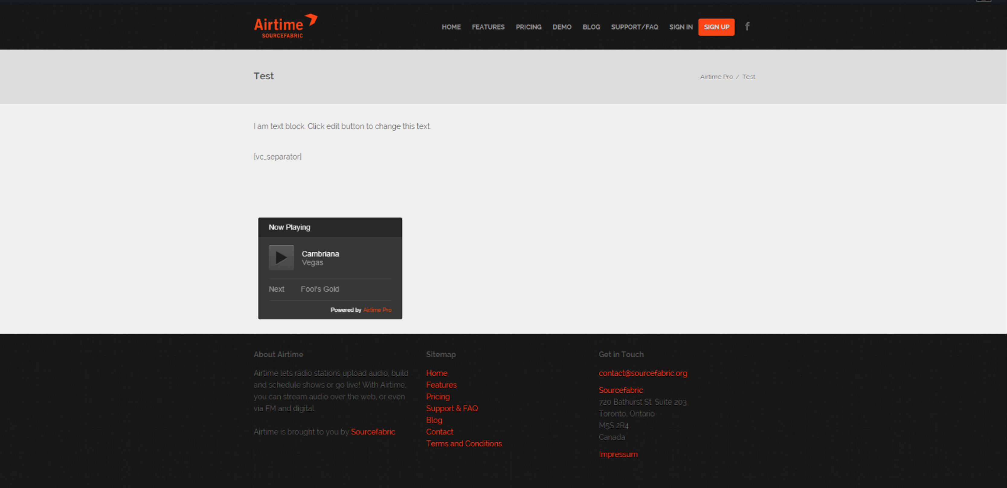 Airtime Pro player embedded on a Wordpress site.