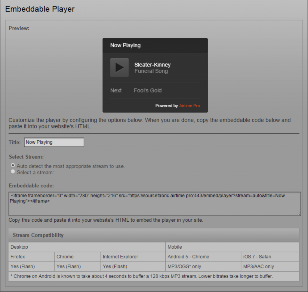 The player embed code in the your Airtime Pro instance