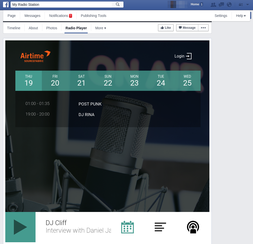 podcast feed on the radio page