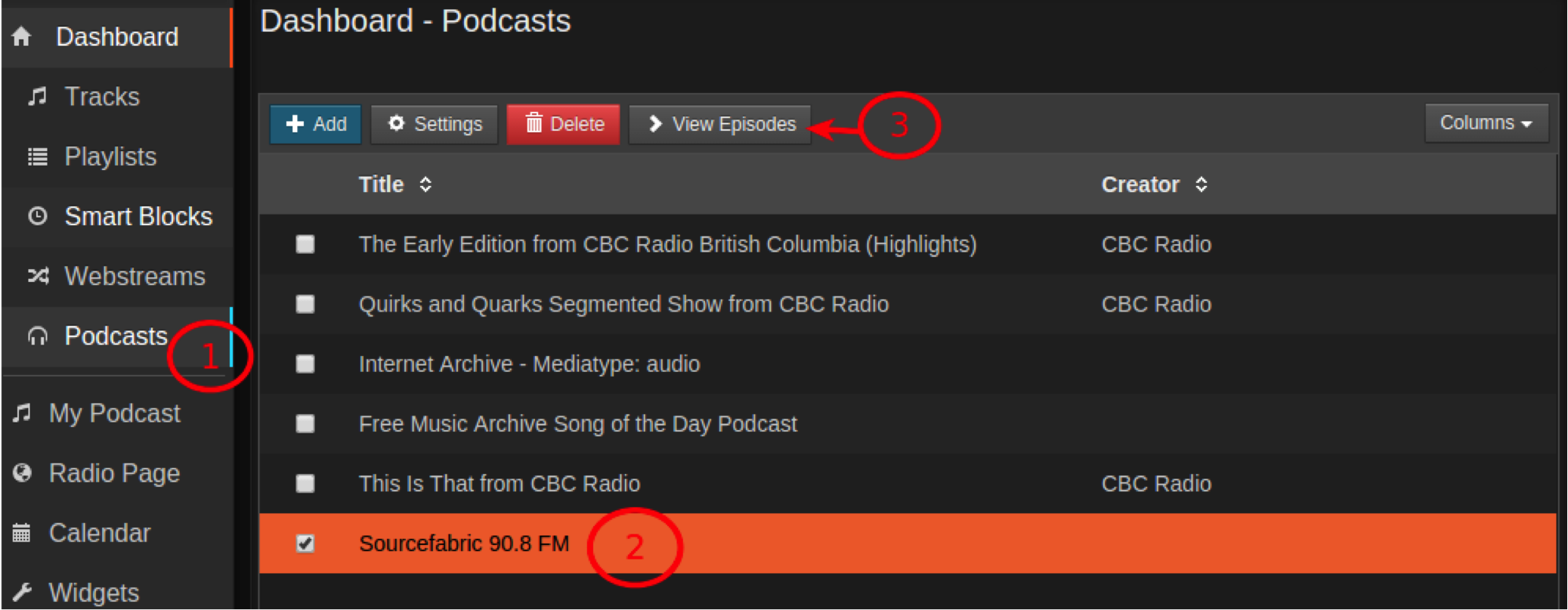 How to view the list of episodes in an imported podcast