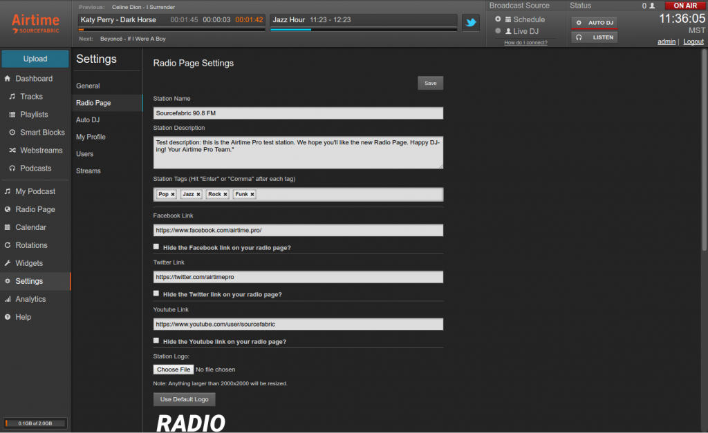 Radio Page Settings